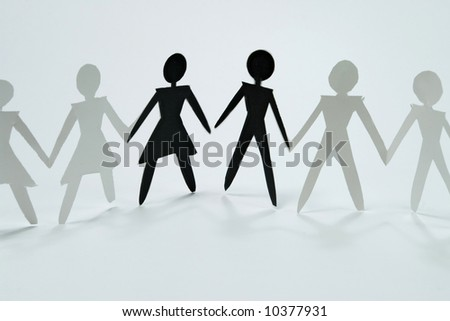 shadow figures of woman and men group join
