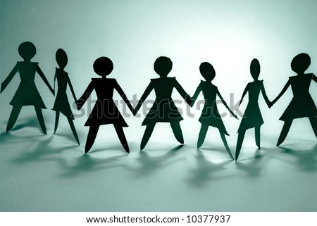 shadow figures of women group join - stock photo