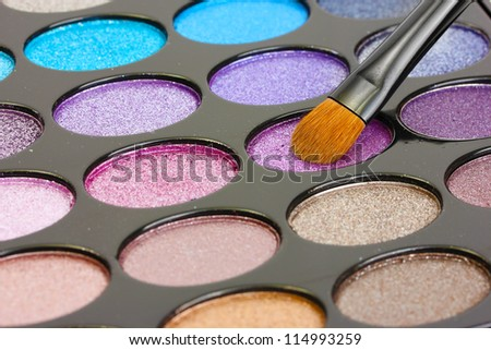 shadow kit with brush for make-up - stock photo
