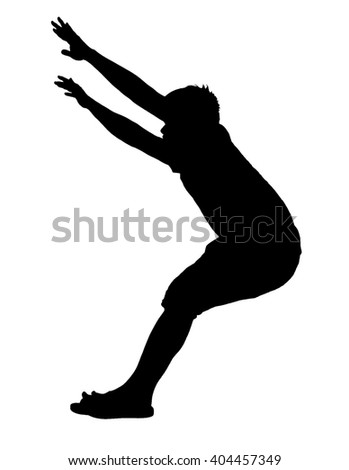 Shadow Man jump Many a happy mood White background