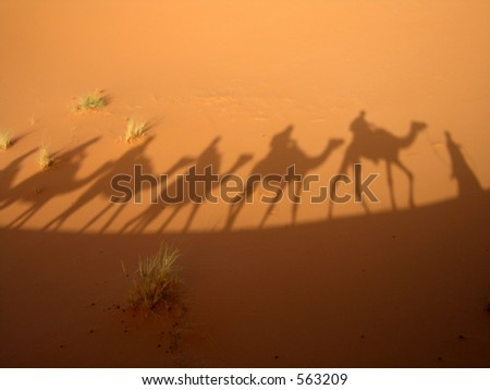 Shadow of a caravan in the Sahara desert (Three Wise Men) - stock photo