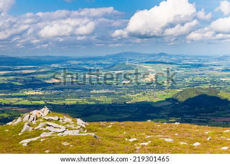 Shadow of a cloud covering county Carlow landscape - stock photo