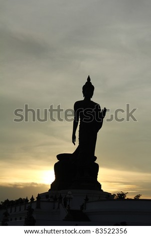 Shadow of big Buddha statue with evening background.