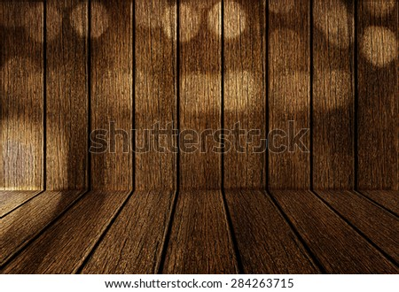 Shadow of bokeh nature on wall and floor of wood