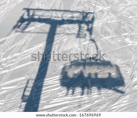 Shadow of the Chairlift in the Mayrhofen resort - Austria - stock photo