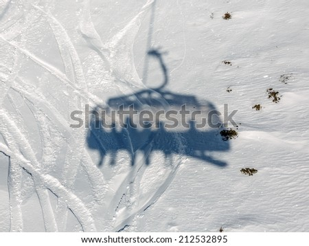 Shadow of the Chairlift in the Mayrhofen resort - Austria
