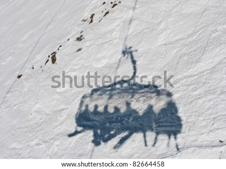 Shadow of the Chairlift (Mayrhofen) - Austria - stock photo