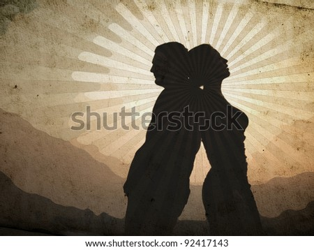 shadow of the man and the woman, retro clipart