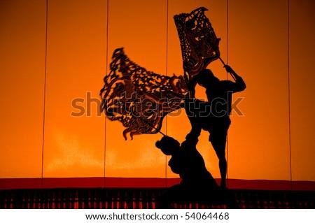 Shadow Puppet Drama, beautiful action, Thailand - stock photo