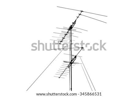 Shadow TV antenna on white background - stock photo