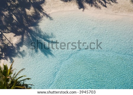 Shadows from palm trees on white sand by cool crystal clear water - paradise. - stock photo