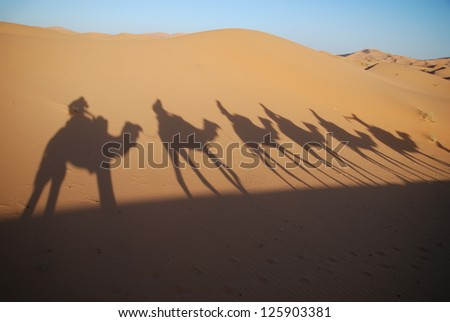 shadows of camel riders - stock photo