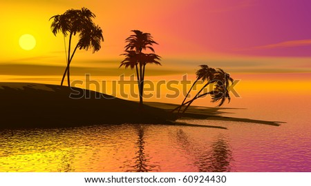 Shadows of palmtrees on a island surrounded by quiet ocean by sunset - stock photo
