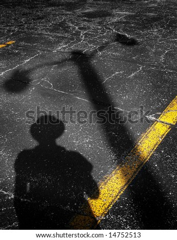 Shadows on a parking lot - stock photo