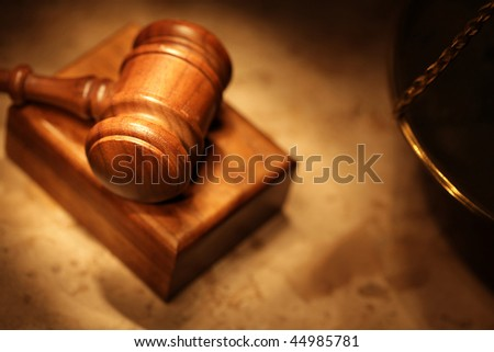 Shadowy, moody shot of a legal concept - stock photo