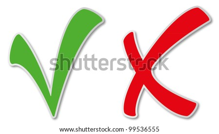 Shady green tick and red cross - stock photo
