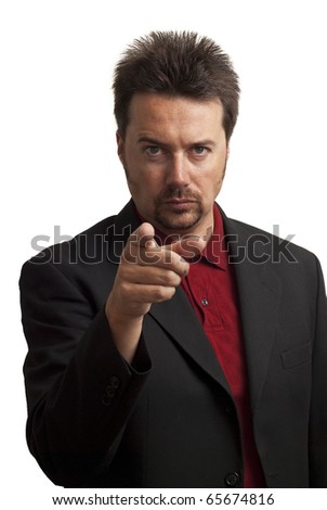 "Shady looking business man pointing a finger in the ""I want you"" gesture. This is a re-creation of the classic ""Uncle Sam"" image, showing the ""I want you"" gesture. - stock photo"