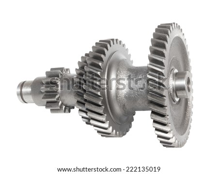 Shaft gears on white background - stock photo