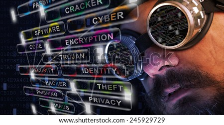 Shag beard and mustache man with goggles study cyber security related issues - stock photo