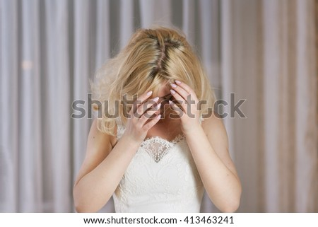 Shaggy beautiful bride with blond hair  - stock photo