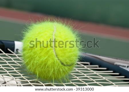 Shaggy tennis ball on a racket - stock photo