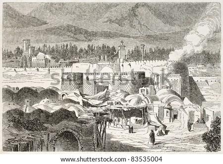 Shah Abdul Aziz gate old illustration, Persia. Created by Laurens, published on Le Tour du Monde, Paris, 1860 - stock photo