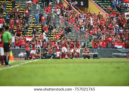 Shah alam,Malaysia,15aug2017:Players of indonesia celebrate during SEAGames 28th between Thailand against Indonesia at Shah alam stadium,Malaysia