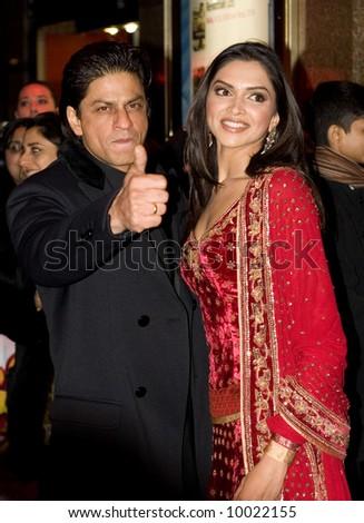 Shah Rukh Khan and Deepika Padukoneat the Bollywood Film premiere of Om Shanti Om in London - stock photo