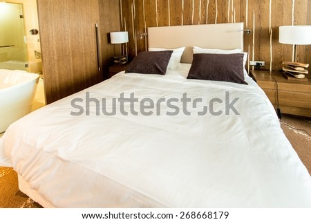 Shahdag - FEBRUARY 8, 2015: Room in Park Chalet Hotel on February 8 in Azerbaijan, Shahdag. Shahdag has become a popular tourist destination for skiing. - stock photo