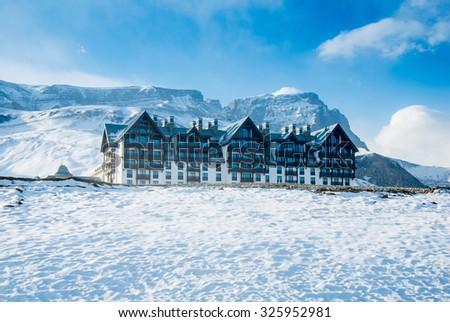 Shahdag - FEBRUARY 8, 2015: Tourist Hotels  on February 8 in Azerbaijan, Shahdag. Shahdag has become a popular tourist destination for skiing in Azerbaijan. - stock photo