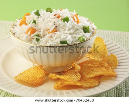 Shai Pilau or Vegetable Pilau or Indian Biryani - stock photo