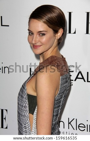 "Shailene Woodley at the Elle 20th Annual ""Women In Hollywood"" Event, Four Seasons Hotel, Beverly Hills, CA 10-21-13 - stock photo"