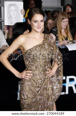 "Shailene Woodley at the Los Angeles premiere of ""Divergent"" held at the Regency Bruin Theatre in Westwood on March 18, 2014 in Los Angeles, California.  - stock photo"