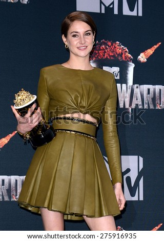 Shailene Woodley at the 2014 MTV Movie Awards - Press Room held at the Nokia Theatre L.A. Live in Los Angeles on April 13, 2014 in Los Angeles, California.  - stock photo