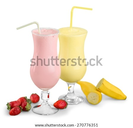 Shake. Strawberry and banana milkshakes isolated on white background - stock photo
