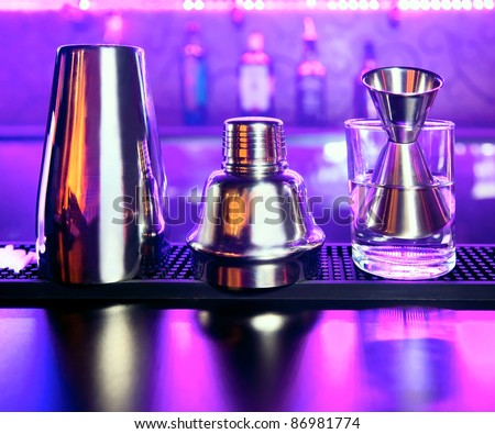 Shaker and bar inventory at a nightclub - stock photo