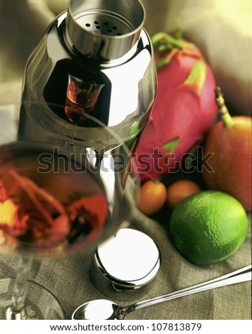 Shaker and fresh fruit for cocktails - stock photo