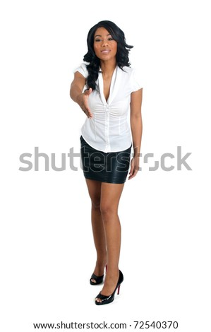 Shaking hand African American Woman - stock photo