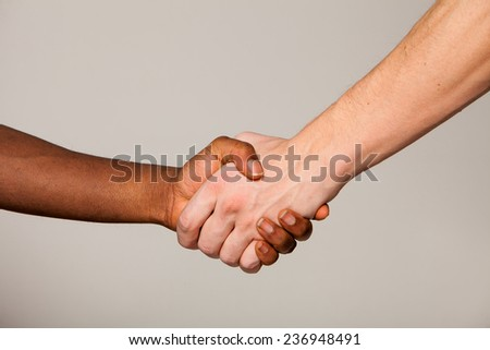shaking hand white and black - stock photo