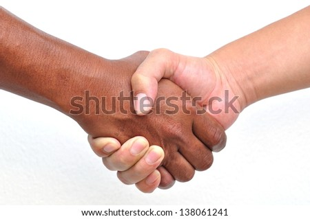 Shaking hands, isolated on white - stock photo