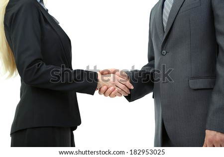 Shaking hands isolated on white