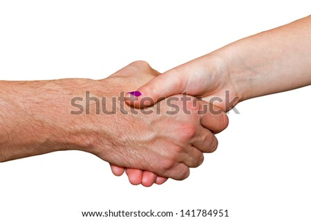 Shaking hands, isolated on white background - stock photo