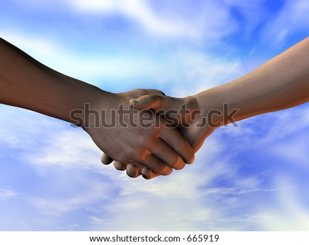 Shaking hands - making the deal. A 3D illustration with a clipping path to remove the background - stock photo