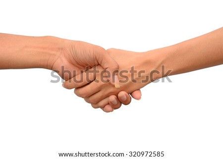 Shaking hands of male and female people, isolated on white backgrpund