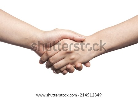Shaking hands of two female people, isolated on white