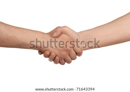 Shaking hands of two male people, isolated on white