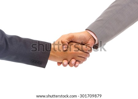 Shaking hands of two people, on isolated isolated background - stock photo