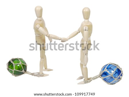 Shaking hands on business while tethered to glass floats to keep business afloat - path included - stock photo