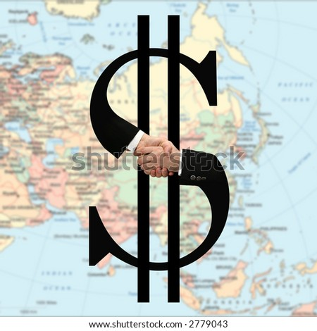 shaking hands on dollar sign - stock photo