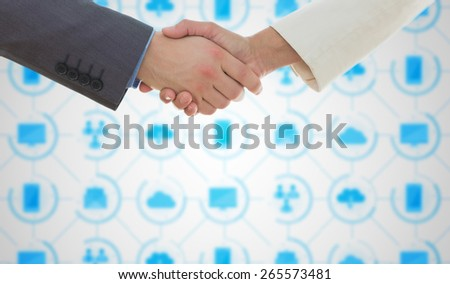 Shaking hands over eye glasses and diary after business meeting against app interface - stock photo